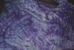 Blue and purple shibori wrap, close up