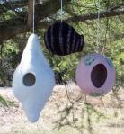 Felt bird houses