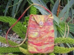 Wet Felt Bag using Merino, Sari Silk & Silk Hankie