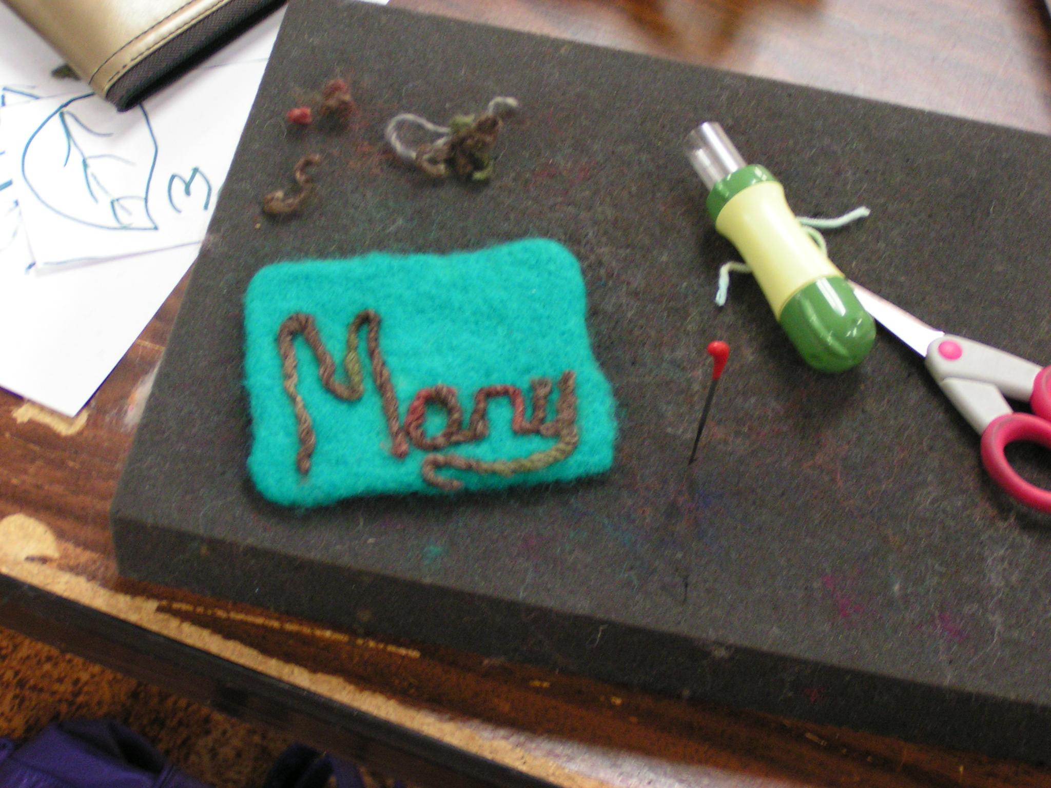 needle felted name tags feltingandfiberstudio