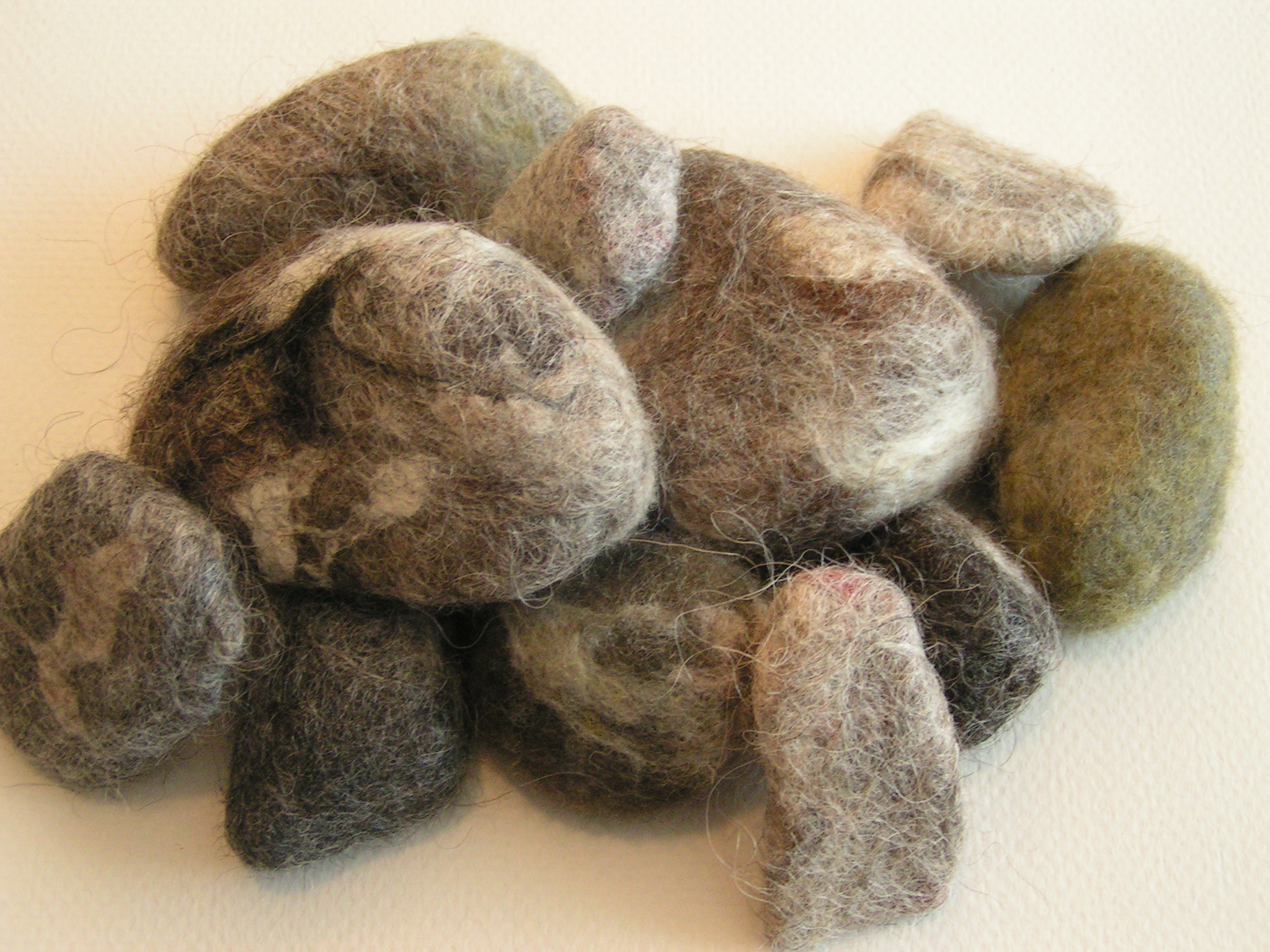 Growing roots and a bit of ground feltingandfiberstudio for Felted wool boulders
