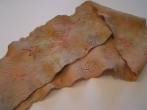Natural Dyed Felt Scarf with Free Motion Machine Stitching
