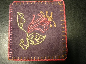 Book Cover with Stem Stitch