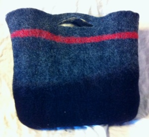 gray felt bag reversed