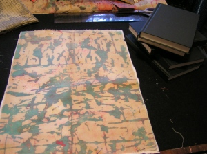 Fabric on Batting with Notebooks
