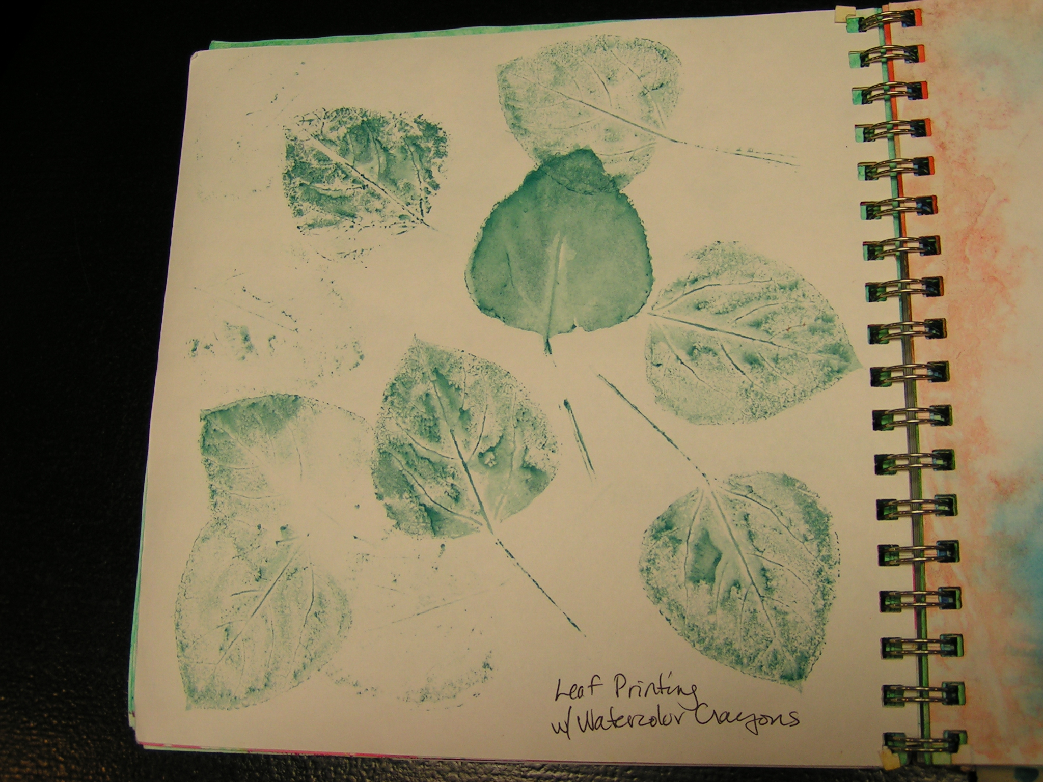 how to make leaf prints with crayons