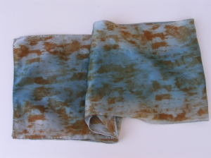 Blue and Rust Silk Scarf