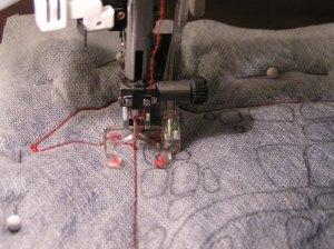 Close Up Free Motion Machine Stitching