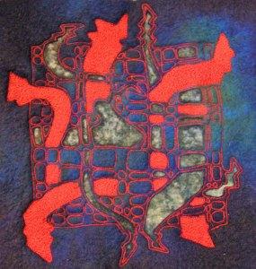 Cut Back Felt Machine Applique - Psychedelic Design 1