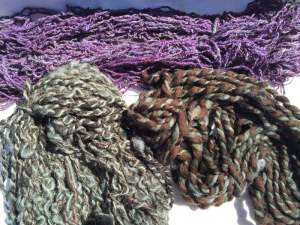 brown and green yarn purple yarn