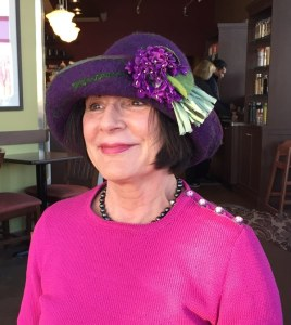 Rebecca in purple hat.