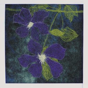 Free Motion Stitching on Felt - Clematis