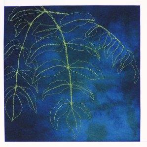 Free Motion Stitching on Felt - Leaves