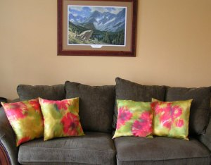 Poppy Pillows on Couch
