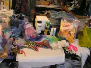 Studio after Making Scrap Flowers