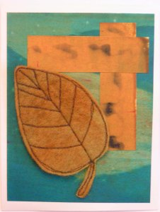 Felt Free Motion Stitched Ovate Leaf Card