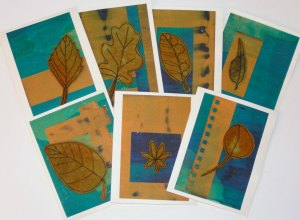Felt Free Motion Stitched Leaf Cards