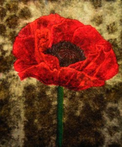 Painted and Free Motion Stitched Poppy on Felt