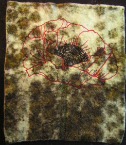 Free Motion Machine Stitched Poppy on Felt