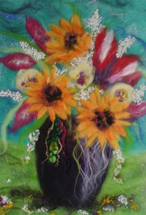 SUNFLOWERS AND TULIPS - SOLD