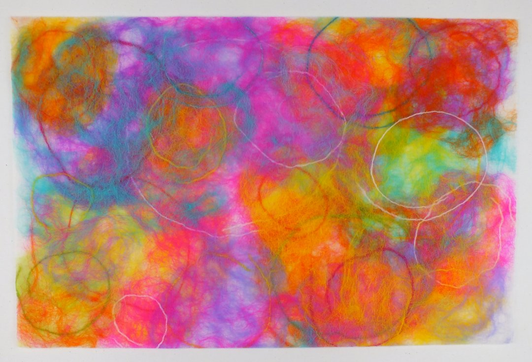 circles laid down and felted