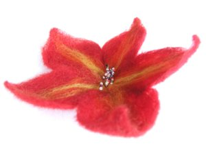 5. red needle felt brooch